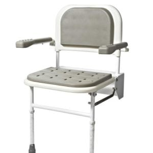 Padded Wall Mounted Shower Seat with Back, Arms & Legs