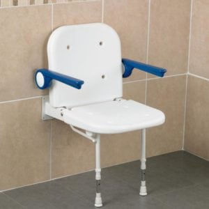 Bariatric Wall Mounted Shower Seat with Back, Arms & Legs
