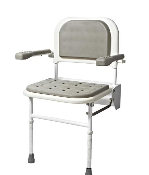 Padded Wall Mounted Shower Seat With Back, Arms U0026 Legs