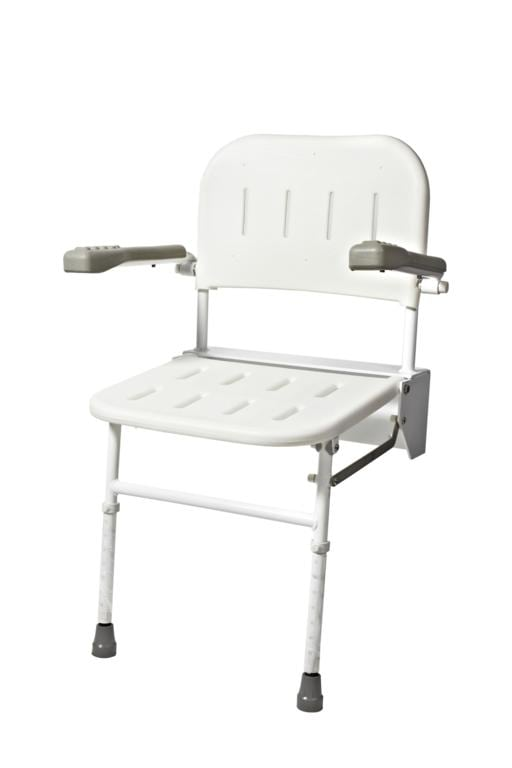 Wall Mounted Shower Seat with Back Arms and Legs